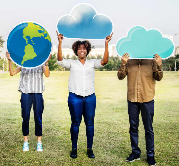 People holding images of clouds and planet