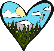 heart-shaped view of mountaintop, trees, birds, sky
